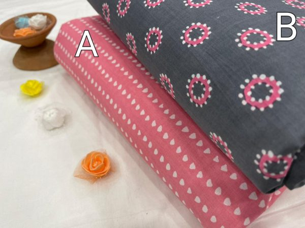 Daily wear Slate gray and pink pure cotton running fabric