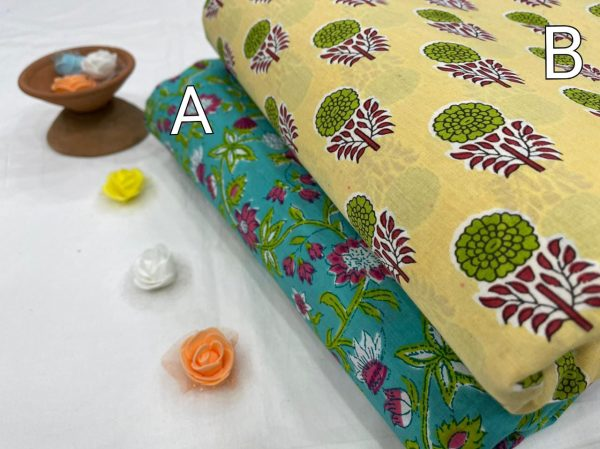 Canary Yellow and Turquoise pure cotton running fabric