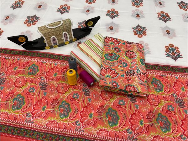 Coral and white cotton suits with cotton dupatta wholesale