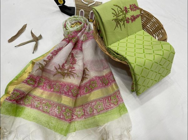 Dull green and white floral print cotton salwar suits with kota silk dupatta