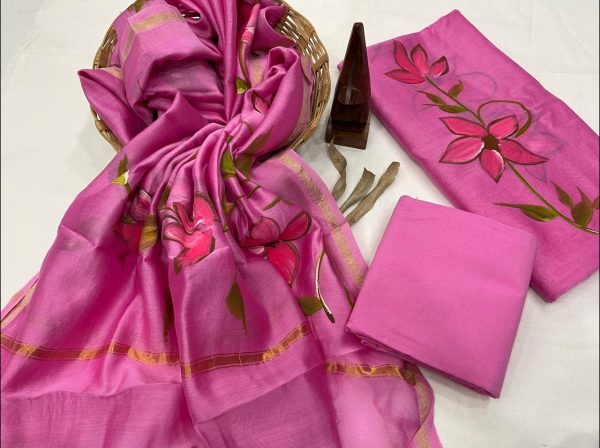 Magenta hand painted chanderi suit set with dupatta