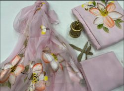 Pink Champagne Hand painted floral print unstitched cotton suits with chiffon dupatta