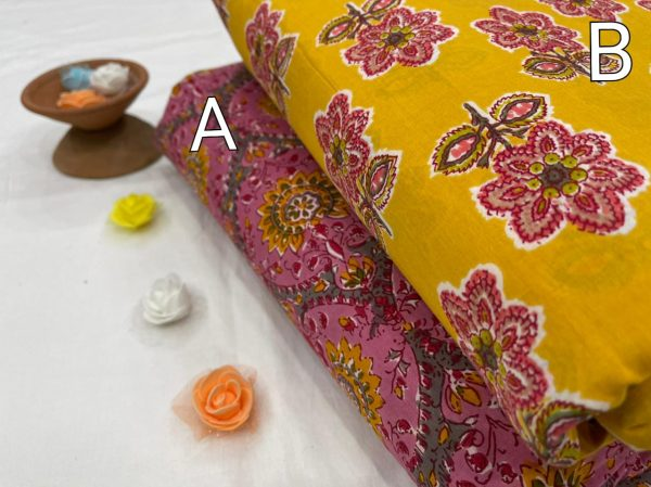 Amber and magenta floral print cotton running material set