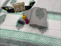 Slate gray and white cotton suit with cotton dupatta