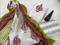 White and dull green cotton dupatta suits wholesale