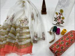 WHite cotton suit with kota doria dupatta set