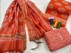 Orange Cotton salwar suit with chanderi dupatta