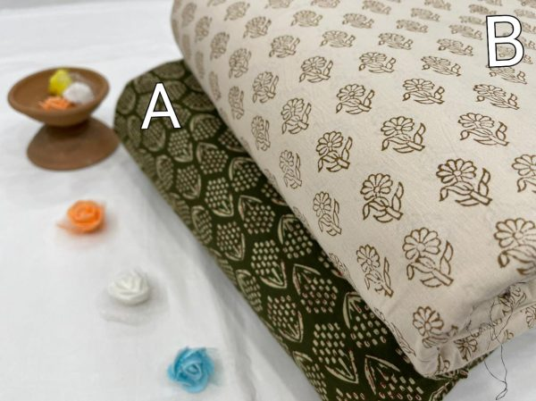Olive and Beige Pigment print Pure cotton running fabric set