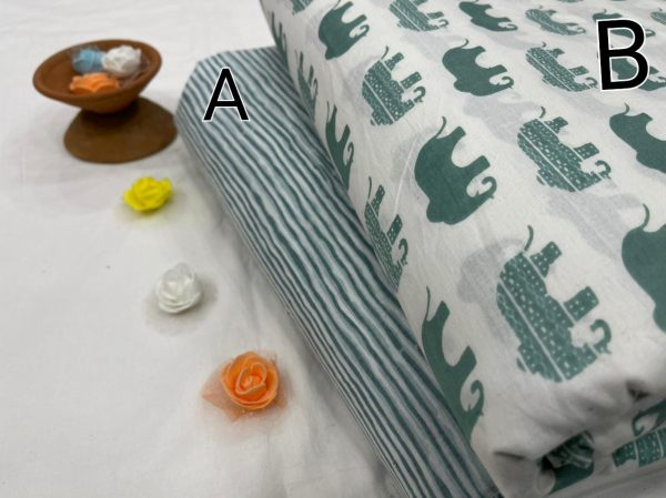 Bay Leaf and white pure cotton running fabric