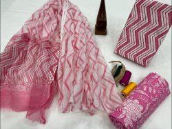 Pink floral print cotton suit with kota doria dupatta designer suits for office wear