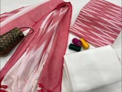 Pink and white Ikkat dress material with dupatta