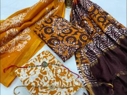 Royal maroon and Amber chanderi cotton suit material
