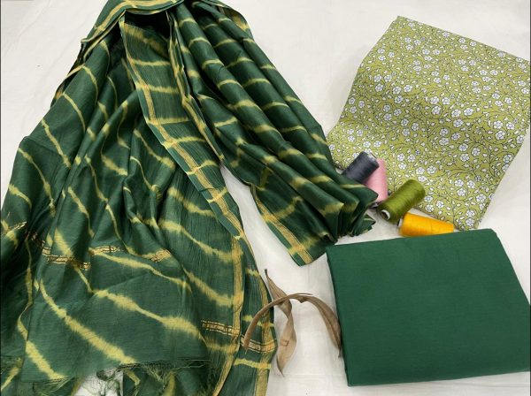Dark green cotton salwar suit with chanderi dupatta set