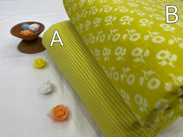 Traditional Lime Pure cotton running fabric set
