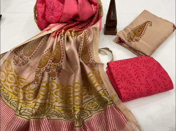 Pink and Copper Orange salwar suit with chanderi dupatta set
