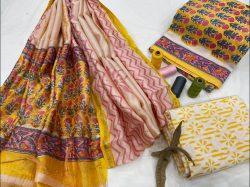 Yellow cotton salwar suit with dupatta set