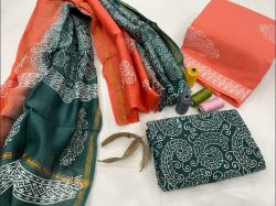 Japanese Blue-Green And coral cotton suit with chanderi dupatta