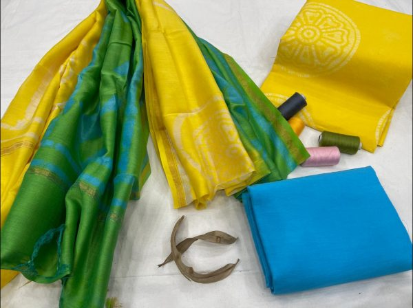 Yellow and azure Salwar suit with chanderi dupatta