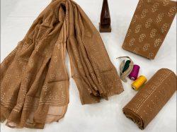 Bronze pigment print cotton suit with kota doria dupatta ladies suits for office wear