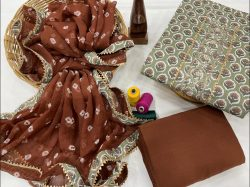 Brown and beige embroidery salwar suit piece with chiffon dupatta