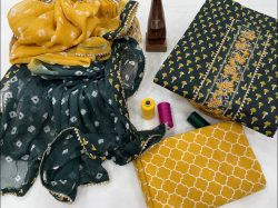 Green and yellow  gota work suit WIth chiffon dupatta online