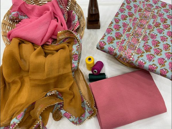Cyan and Pink embroidered suit online india with chiffon dupatta