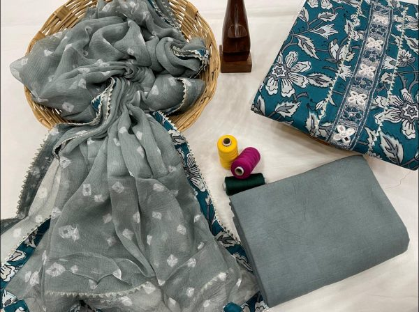 Cerulean And slate gray printed cotton embroidery suit with chiffon dupatta