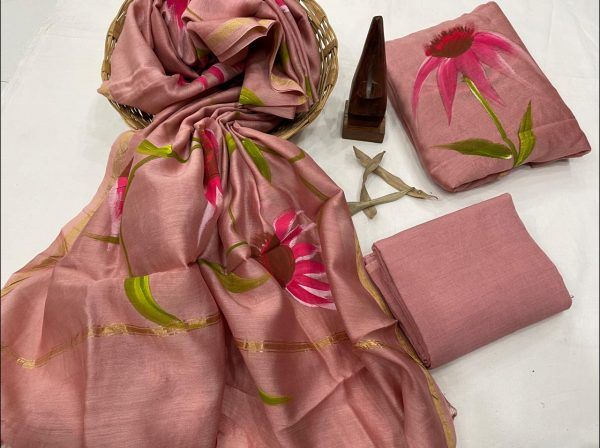 Coral Pink Floral hand painted chanderi suit
