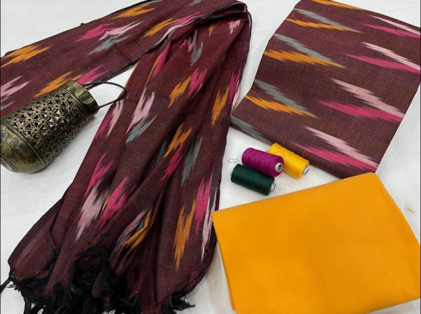 Tyrian Purple And amber ikkat salwar suit with dupatta