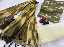 Yellow and Olive ikkat salwar suit with dupatta