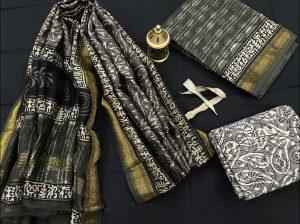 Dark gray and Green maheshwari silk suit set with cotton pajama and pure maheshwari silk dupatta