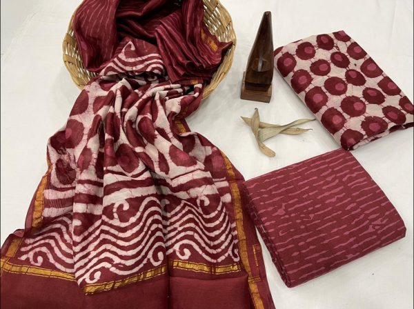 Rayal maroon chanderi silk unstitched suit With dupatta
