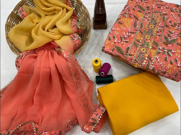 Salmon and amber embroidery suit new look with chiffon dupatta