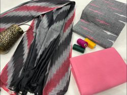 Slate gray and pink ikkat salwar suit with dupatta