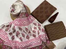Pink and white floral print cotton suit with printed dupatta