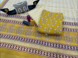 Yellow cotton suit with cotton dupatta