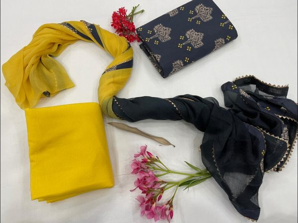 Yellow and Black cotton suits with chiffon Border dupatta