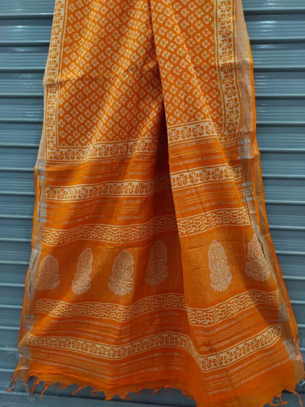Amber Handloom cotton linen saree with printed cotton blouse