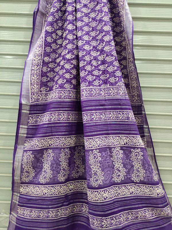 Amethyst  Handloom cotton linen saree