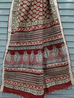 Maroon cotton linen saree with printed cotton blouse