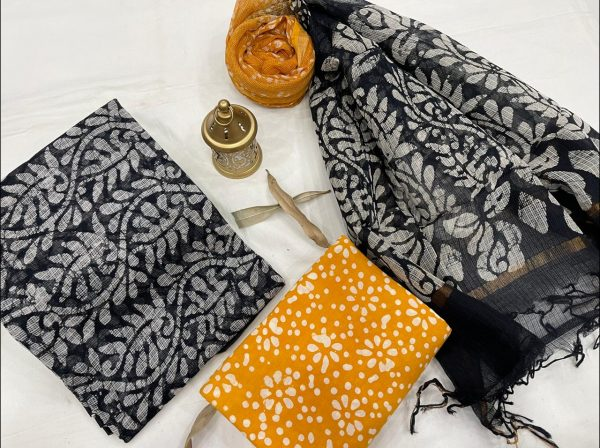 Black and amber kota doria suits online shopping With dupatta