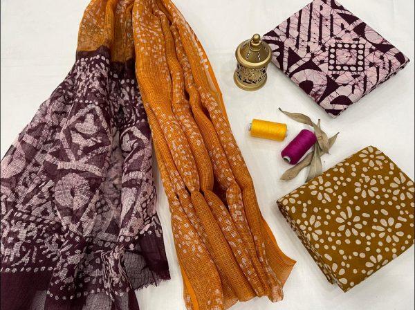 Bronze And Medium Burgundy cotton suit with kota doria dupatta