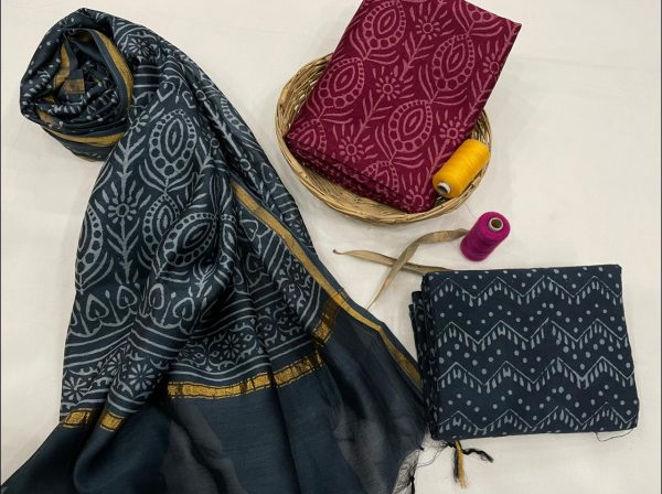 Blue And Ruby Chanderi suit  chanderi suit material online