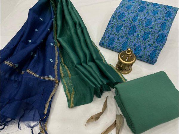 Azure Cotton salwar suit with chanderi dupatta