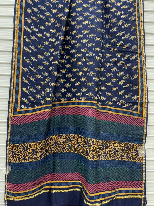 Blue chanderi silk saree party wear