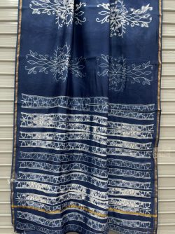 Blue Chanderi handloom saree with blouse