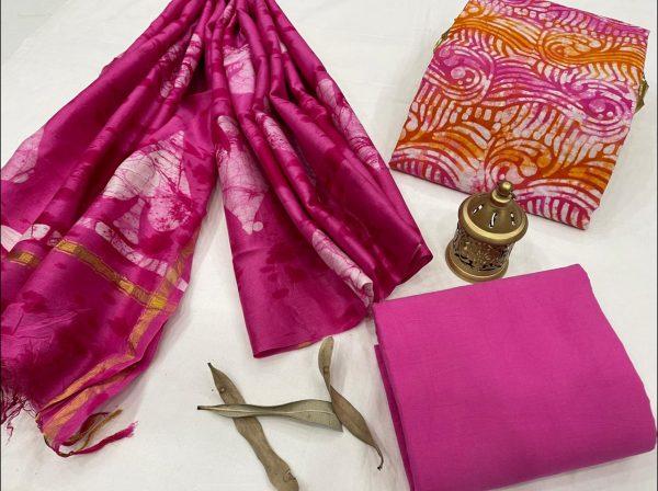 Magenta Cotton salwar suit with chanderi dupatta set
