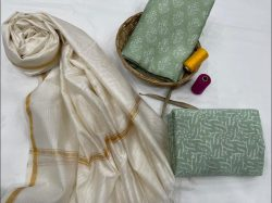 Jungle green chanderi suit with dupatta