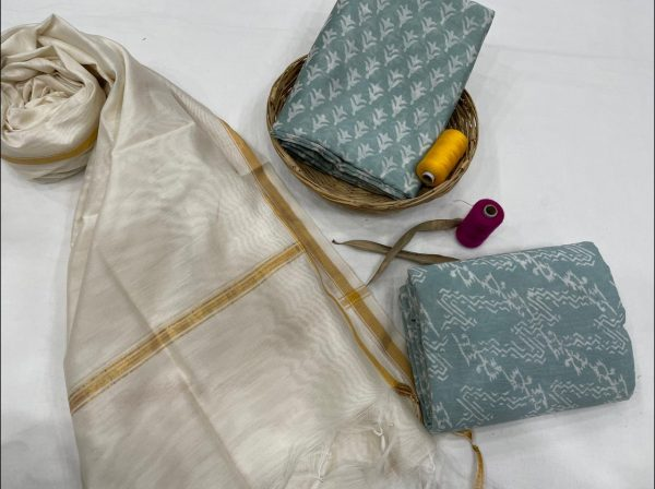 Teal and white chanderi suit with dupatta