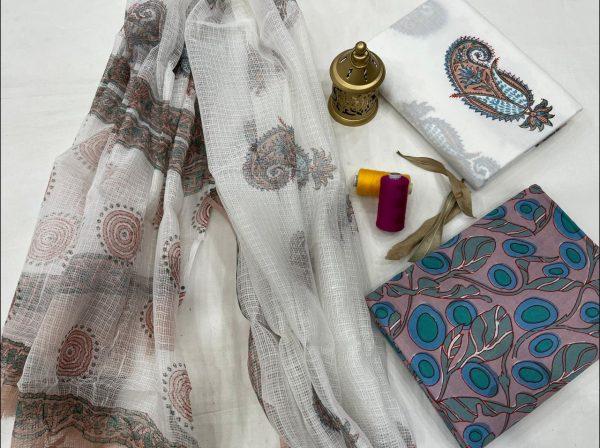 Tan daily office wear salwar kameez set with kota doria dupatta